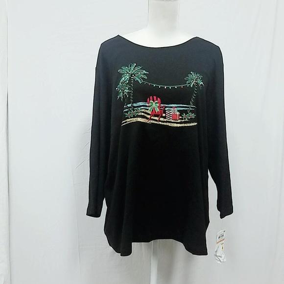 5e8f6092b4b7 Karen Scott Tops | Plus Size Beach Print Black Shirt 3x | Poshmark